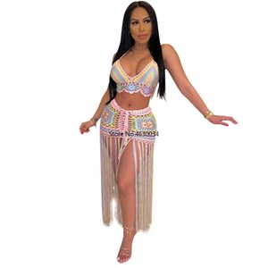 Summer Women Two Pieces Sets Print Sleeve Tassel Print Hollow Out Beach blouse Top Bodycon Mini Skirts Suit Tracksuits Dress 072