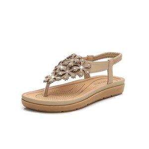 Les femmes Sandales d'été ouvert Flip Flops Toe Sandles plat femme avec bas Mesdames cristal Chaussons Chaussures Sandle X9X07018 Y200405