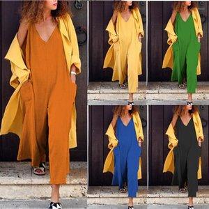 Kolsuz Kısa Casual Yaz Kadın tulum Keten V Yaka Bayan Tulumlar Katı Renk Gevşek Unisex Sundress