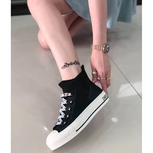 2020 leather thick fashion brand sneakers red star white shoes increase wild couple mens womens shoes White Pink luxury Designer no box 2b