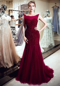 Fashion Crystal Dresses Round Neck Open Back Beading Mermaid Wine Red Tulle Long Party Formal Evening Dresses Women Prom Dresses