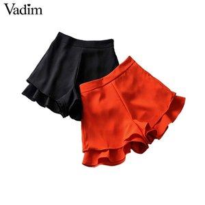 Vadim women chic solid shorts side zipper design back pockets female casual shorts summer pantalones cortos SA152