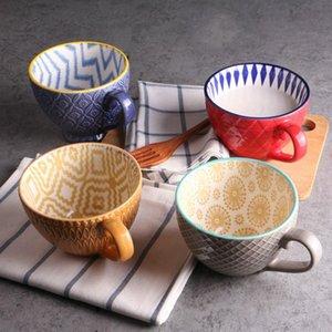 Main en céramique peinte tasse de café Coupe Vintage Creative Cafe Bar Fournitures gaufrée Personnalité Petit-déjeuner Coupe colorée decores