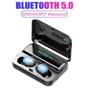 마이크 2000MAH 차링 케이스와 방수 헤드셋 IPX7 취소 TWS F9-5 무선 블루투스 5.0 이어폰 보이지 않는 핸즈프리 이어폰 소음