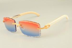 2019 الشحن المجاني جديد المباشر DHL عدسة الساخن بيع النظارات الشمسية 8300915 قرون البيضاء الطبيعية من النظارات، والماس الفاخرة ظلة للجنسين،