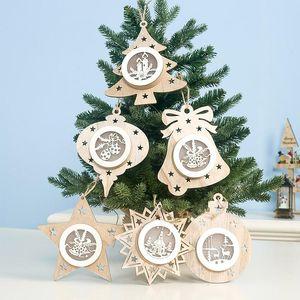 Ahşap kolye Hollow Beş Parlayan Noel Süsleri Noel ağacı Yıldız Işıklar Noel Partisi Hediye WX9-1749 Sivri