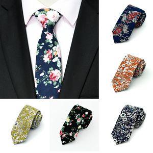 Нового топ Цветочных галстуки Мода хлопок Paisley Галстуки для мужчин Corbatas Тонких костюмов Vestidos галстук партии Связь Урожай печатного Gravatas XD22692