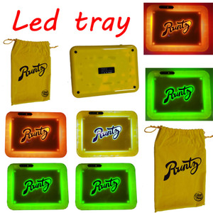 Cookies Runtz Backwoods LED Glow Tray 280 * 208 * 360mm rechargeable sec Herb tabac à rouler Porte-câble USB Box Sac d'emballage 550mAh Batterie