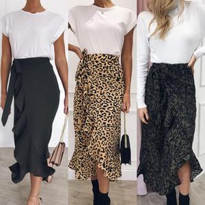 Autumn Sexy Ladies cintura alta Saias Mulheres Spring cópia do leopardo envolvem Ao longo Aysmmetrical solto Skirt