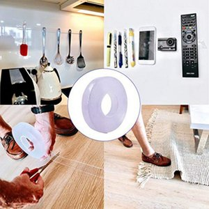 Nano Magic Tape Traceless Lavable Adhesivo reutilizable Cinta transparente de doble cara Soporte para teléfono con cinta extraíble para pegar fotos y tapetes