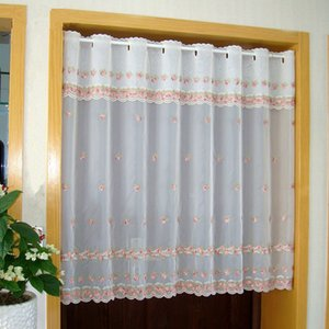 Countryside Door Curtain Luxurious Pink Flower Embroidered Window Screen Valance Coffee Curtain for Kitchen Cabinet Door tt-0101