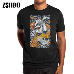ZSIIBO Verão New Japan Harajuku Estilo Aço Imprimir Men T-Shirt Mobile Suit Gundam Modelo tshirt