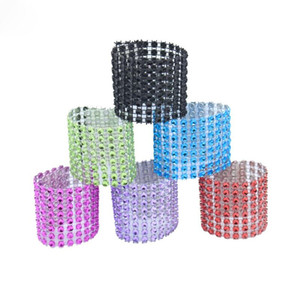 Rhineston Napkin Rings Plastic Napkin Buckle Mesh Wrap Napkin Ring Serviette Holder Hotel Wedding Accessory Table Decoration LX2686