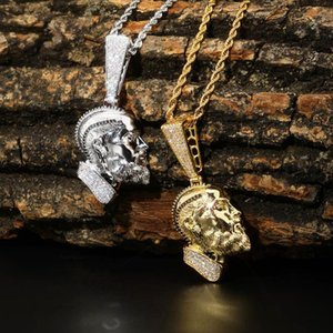 Hip Hop Nipsey Hussle colar de pingente com corrente 2 cores para fora congelado Bling Cubic Rapper de Homens Zircon jóias