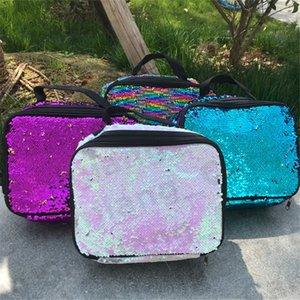 Outdoor Arcobaleno paillettes isolanti pranzo Borse picnic esterno ad alta capacità doppio strato addensare borsa impermeabile unisex pranzo Totes E31202
