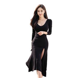 CINESSD lange Maxi Kleider für Frauen schwarzen Kleid Langarm-O Hals-Spalt Taille flowy loses beiläufiges Partei Vestidos Plus Size
