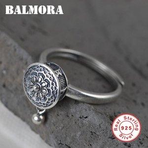 Balmora 100% real de prata anéis budistas de oração Mulheres Lady Rotating Anel Mantra tibetana dedo anelar Boa Sorte Anel