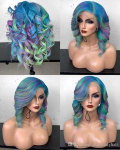 Pelucas de pelo de onda suelta de moda para mujer, pelucas sintéticas de cosplay rizadas coloridas para mujer, pelucas rizadas