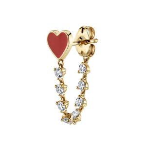 cadeau de petite amie amoureux chaîne de mailles cz romantique émail rouge coeur longue chaîne boucle d'oreille luxe magnifique femmes bijoux