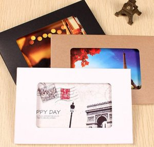 10.2*15.5*0.5cm Kraft Paper Foldable Photo Display Box Postcard Box With Window Greeting Card Party Packaging Window Boxes