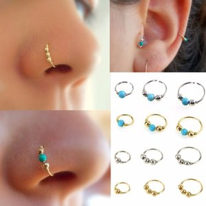 3Pcs / Set Fashion Retro Round Beads Nose Ring Nostril Hoop Body Piercing Jewelry # 248359