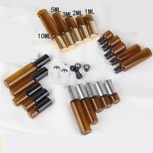 Ricaricabile Ambra 3ml 5ml 10ml ROLL ON Bottiglie di fragranza del profumo bottiglia di olio essenziale con rullo in acciaio della sfera di metallo JXW518