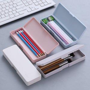 Simples Multifunção Papelaria Criativa Box Versão Coreana pequeno fresco translúcido Matte Pencil Box Student portátil