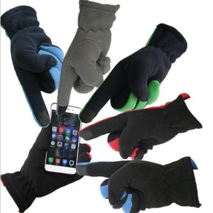 All'ingrosso Uomini Five Fingers Fleece Gloves Phone Touch Outwear Aumentare l'ispessimento Winter Warm Gloves bike Riding sci Guanti