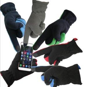 Venta al por mayor Men Five Fingers Fleece Guantes Teléfono Touch Outwear Aumento del engrosamiento Guantes de invierno Ciclismo Montar guantes de esquí