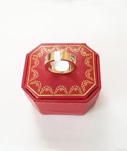 plata de acero de titanio rosa anillo de oro para el amor anillo de los amantes de la pareja con la caja original