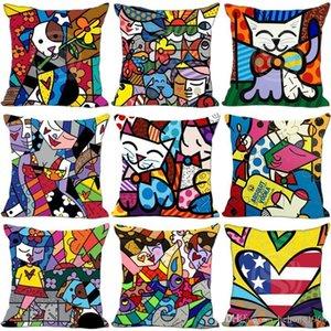 Cartoon Imprimé Pillow Case Mode Romero Britto style maison Canapé Décor Housse de coussin en lin coton Ligne 6my Ww