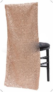 New Products Sequin chiavari chair covers Glitz Banquet chair cover for party Events Rose gold Slub chair cap decorations