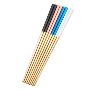 Or Argent Chopsticks en acier inoxydable avec revêtement Chopsticks Noir Blanc Rose High End grand mariage Chopsticks cadeau Art de la table DBC BH3093