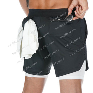 New Arrival Summer Double-Deck Men Shorts Fitness Fisiculturismo Fisiculturismo Fisiculturismo Secagem Rápida Respirável Ginásios Curtos Homens Joggadores Casuais Calças De Comprimento Do Joelho