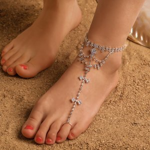 2020 New Luxury Full Crystal Chain Toe Ring Anklets Summer Beach Barefoot Sandals On Leg Anklets Foot Jewelry For Women