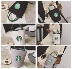 Starbucks imprimir Lady Canvas Tote Bag Handbag Barrel Shape Shoulder Shopping Lunch Bag Saco de compras LJJK958