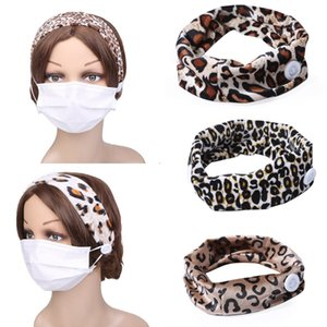 DHL Shipping Fashion Mask Headband Button Leopard Print Masks Headband Headwrap Protect Ears Mask Strap Extender Headwear Hair Band A2Z