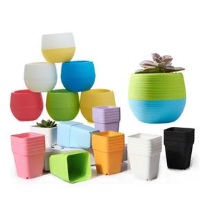 Panelas 20pcs Mini Pots 10pcs flor quadrado + 10pcs Redonda Vasos Home Office Decor plantador coloridos plantas suculentas Pots GYH T191016
