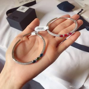 NEW Women Bracelet with Box European Beads Jewelry Bangle Real silver Bracelet for Women Diamond Hip Hop Bling Chains Jewelry M111430