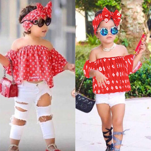 Baby girl kids clothes Set 2 estilos Fashion Bow hairband + A word shoulder Top + hole Pant 3 pcs set Kids Designer Clothes Girls EJY315