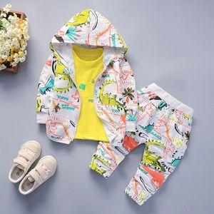 Весна Мальчики Одежда наборы 2020 Осень малышей Детская одежда Костюм 3шт Стильный Динозавр Печать Outfit 12 3 4 Y Дети Tracksuit