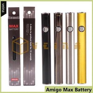 Batteria di preriscaldamento originale Amigo Max 380mAh a tensione variabile VV Vape Mod per 510 Spessore olio Liberty V9 Cartucce di vaporizzatore Serbatoio 100% autentico