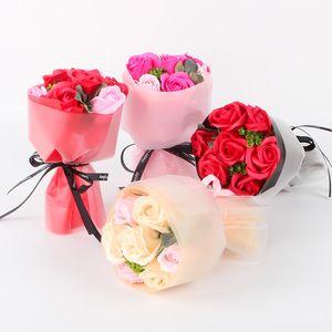 Schöne Rosen-Blumen-Bouquet Hand Holding Soap Blume für Mutter Valentinstag Geschenk Mini-Blumenstrauß Geburtstags-Geschenk-Dekor Künstliche Blumen