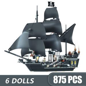 875 개 작은 빌딩 블록 장난감 호환 Legoe 카리브해 검은 진주 선박 해적 선물 소녀 소년 어린이 DIY