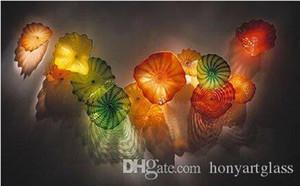 Nuevos colores de cristal soplado de Murano Modern Art Glass placas soplado a mano placas Decoración de la pared de vidrio de la flor