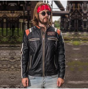 collar del soporte de la vendimia chaquetas de cuero motocicleta AVIREXFLY negro con la cabeza indio bordado de los hombres 100% del cuero genuino de la chaqueta de la juventud