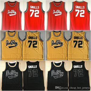 Biggie SMALLS #72 BAD BOY печально известный большой фильм Джерси 100% сшитые баскетбольные майки дешевые желтый красный черный микс заказ