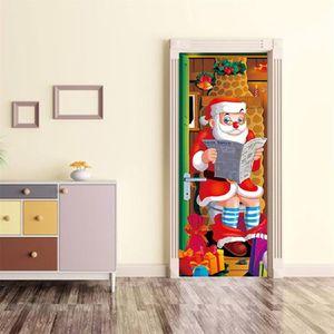 KAKUDER wall Stickers 2pcs Cartoon Santa Claus Door Stickers festival christmas living room Decal Home Decors naklejki na sciane