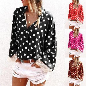 Ladies Fashion Clothing Womens Lace Sleeve Polka Dot Shirt Designer Long Sleeve Famale Casual Lapel Neck Shirt