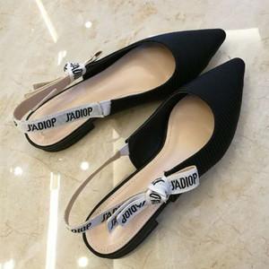 2019 Moda Kadın Flats Bale Ayakkabıları Noktası Toe Papyon Tasarımcı En Kaliteli Bayanlar Sandalet Kadın Elbise Ayakkabı Düğün Loafer'lar Q-328